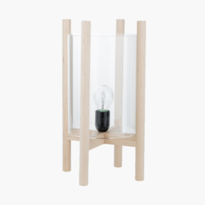 Bordslampa i trä och glascylinder- Ernst