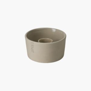ljusskal-beige-fran-ernst-design-i-stengods-for-kronljus-mått-h5cm-Ø9cm