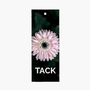 """Exklusivt litet blomsterkort/ tag med texten """"Tack"""" och vacker blomma på som är framtaget av cardstore"""