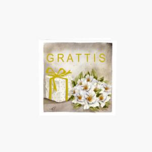 Gratulationskort med enkelbukett och paket med guldband runtom designad av Annica Petterson