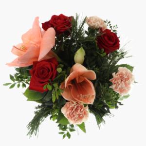 Blomsterbukett Julkram innehållerAmaryllis, Röda rosor, Nejlikor och Grönt.