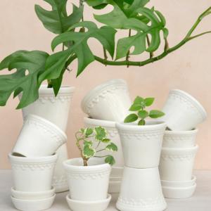 Bergs Potter Copenhagen vit glaserad keramik kruka