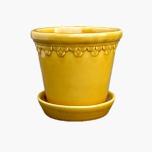 Bergs Potter Copenhagen Yellow amber stor 16cm- gul lackad keramik kruka