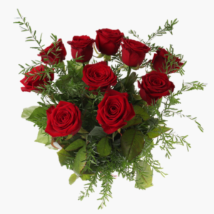 du-och-jag- blomsterbukett-med - roda-rosor- till- alla-hjartans-dag