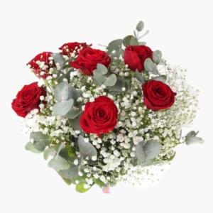 Mitt hjarta, en blomsterbukett till nagon som du verkligen alskar. Buketten innehåller sju roda rosor,brudsloja och harligt gron eucalyptus.