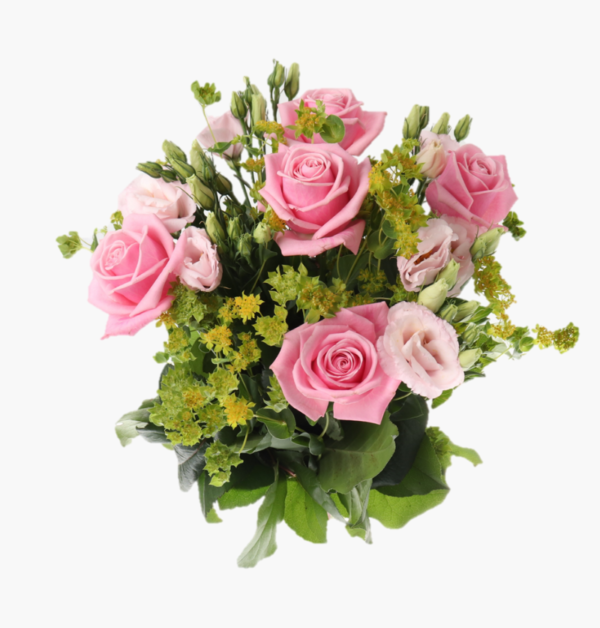 Rosa- drommar- en blomsterbukett med rosa prärieklocka och daggkapa. perfekt blomsterbukett att ge bort som gava på alla hjartansdag