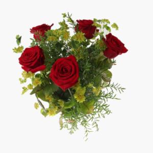 Till dig, en blomsterbukett som innehaller fem roda rosor, daggkapa, asparagus.