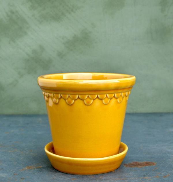 Yellow amber, gul lackad lerkruka fran bergs potter