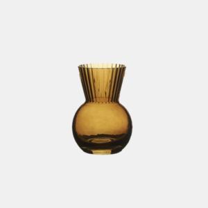 Hyacint vas, en vackert rökig bärnstens glasvas med räfflade detaljer från Wikholmform