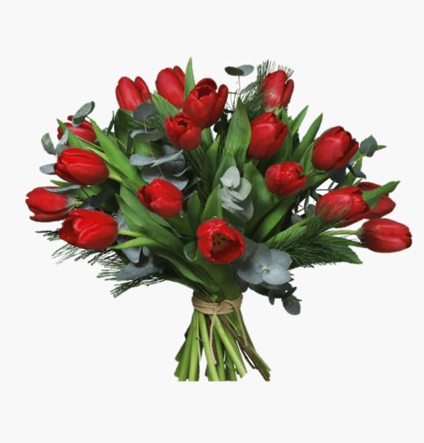 Juldagsmorgon- harlig blomsterbukett till jul med tulpaner och grona kvistar