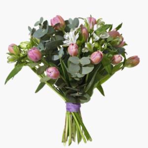 Vardrom, en vacker blomsterbukett med varens tulpaner